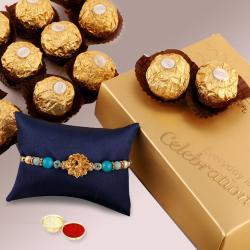 Yummy Ferrero Rocher with Rakhi, Free Roli Chawal and Wishes Card