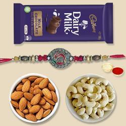 Classic Gift of Rakhi, Dry Fruits and Cadbury Dairy Milk