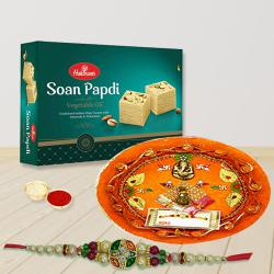 Admirable Gift of Rakhi with Fancy Thali and Soan Papdi