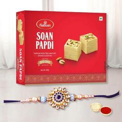 Beautiful Rakhi with Soan Papdi, Free Roli Chawal and Wishes Card