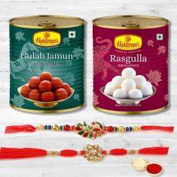Fancy 2 Rakhis, Roli Tika with Gulabjamun  N  Rasgulla Pack