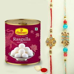 2 Lovely Rakhis N Rasgulla Pack with Roli Chawal, Rakhi Card