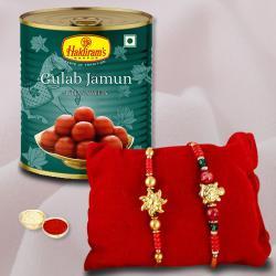 Irresistible Pack of Gulabjamun, 2 Rakhis, Free Roli Chawal N Card