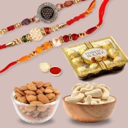 3 Fancy Rakhis, Mixed Nuts N Ferrero Chocolate Pack