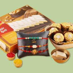3 Fancy Rakhis, Ferrero Rocher N Kaju Katli Gift Combo