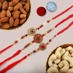 3 Fancy Rakhis N Mixed Dry Fruits with Free Roli Chawal N Card