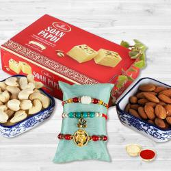 Delicious Sweets, Dry Fruits Mix N 3 Rakhis Combo Pack
