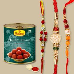 3 Fancy Rakhis N Gulabjamun Pack with Free Roli Tilak N Card
