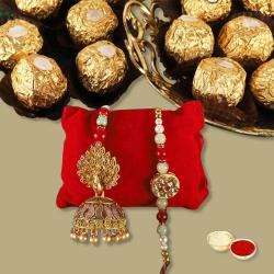 1 Pair of Traditional Bhaiya Bhabhi Rakhi N Ferrero Rocher