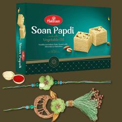 1 Pair of Lovely Bhaiya Bhabhi Rakhi N Tasty Soan Papdi