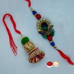 Trendy Collection of Pair Rakhi Set for Bhaiya Bhabhi with free Roli Tilak and Chawal on Raksha Bandhan