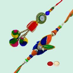 Stunning Arrangement of Rakhi Set for Special Bhaiya Bhabhi with free Roli Tilak and Chawal for Rakhi Celebration