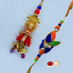 Ecstatic Arrangement of Bhaiya Bhabhi Rakhi Set with free Roli Tilak, and Chawal for Rakhi Celebration