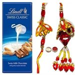 Ultimate Bhaiya N Bhaibhi Rakhi With Lindt Swiss Chocolate