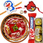 Stunning Combo Of Kids Rakhi, Rakhi Thali, Kitkat N Ferrero Rochers