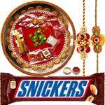 Alluring Combo of Rakhi Wih Rakhi Thali N Snicker