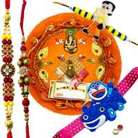 Lovely 2 Bhaiya N Kid Rakhi Set With Rakhi Thali