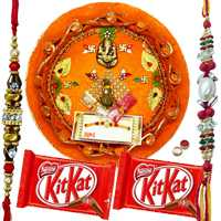 Beautiful Rakhi Thali With 2 Rakhi N KitKat