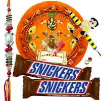 Beauteous Combo Of Bhaiya N Kid Rakhi With Rakhi Thali N Snickers