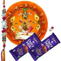 Attractive Rakhi Thali With 1 Rakhi N Dairy Milk