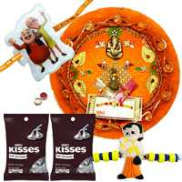 Pleasing Combo of Rakhi Thali ,Kid Rakhi with Hersheys Kisses Assorted Chocolate