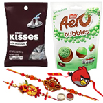 Pleasing Combo of Bhaiya N Kid Rakhi, Aero Peppermint N Hersheys Chocolate