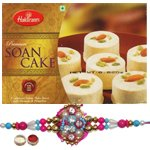 Delicious Haldiram Soan Cake With lovely Rakhi