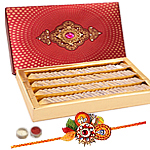 Captivating Rakhi Set With Haldiram Kaju Katli
