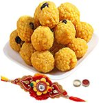 Perfect Combination Of Unique Rakhi With Bundi Laddoo