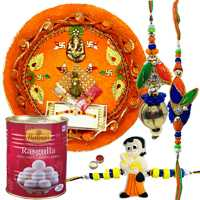 Perfect Combo Of Gorgeous Bhaiya Bhabhi Rakhi With Kid Rakhi, Pooja Thali and Haldiram Rasgulla