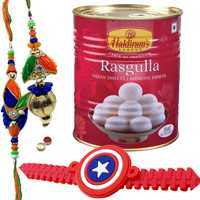 Enchanting Bhaiya Bhabhi Rakhi Set With Ben10 Kid Rakhi And Haldiram Rasmalai