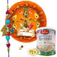 Winsome Rakhi With Pooja Thali And Haldiram Rasmalai