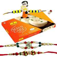 Two Adorable Rakhi, A Chota Bheem Kid Rakhi And Haldiram Soan Cake.