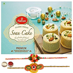Two Graceful Rakhi With Haldiram Soan Cake
