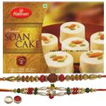 Elegant Rakhi Set With Haldiram Soan Cake