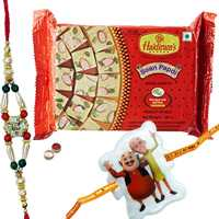 Elegant Combo Of Lovable Rakhi With Kid Rakhi And Haldiram Soan Papdi