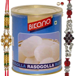 Beautiful Pair Of Bhaiya Rakhi With Kid Rakhi And Bikano Rasgulla
