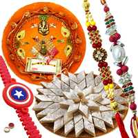 Majestic Combo Of Magnificent Rakhi With Kid Rakhi And Appetizing Kaju Katli