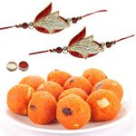 2 Ravishing Rakhi set with Bundi Laddoo