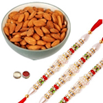 Yummy Almonds 200 gm And 3 Rakhi Set