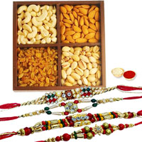 Arresting 4 Rakhis With Dry Fruits Mix