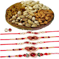 Selective 5 Rakhi With Mixed Dry Fruits