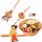 Pleasing Bhabiya Bhabhi Rakhi Set, Kid Rakhi And Dry Fruits