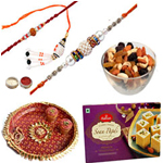 Beautifying Bhaiya Rakhis, Bhabhi Rakhi, Mixed Dry Fruits, Haldiram Soan Papdi And Pooja Thali