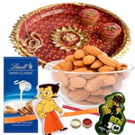 Perfect Combination Of Kids Rakhi, Thali, Lindt Swiss Classic Milk Chocolate & Almond Bar And Almond