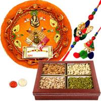 Attractive Bhaiya Bhabhi Rakhi, Dry Fruits & Pooja Thali