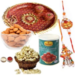 Captivating Combo Of Bhaiya Rakhi With Pooja Thali, Almond, Cashew And Haldiram Gulab Jamun
