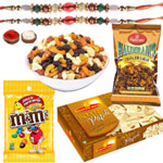 Fascinating Token of Sweet N Salty Assortments with Rakhi