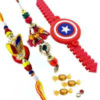 Gorgeous Bhaiya Bhabhi Rakhi Set And Captain America Rakhi