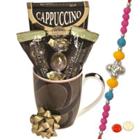 Coffee Mug with Chocolates and Rakhi